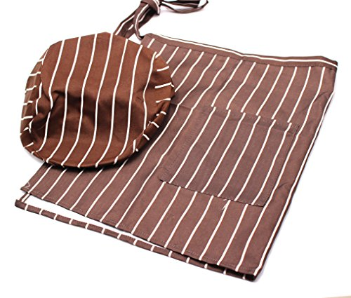 SPADORIVE Waist Apron Coffee Waist Apron with One Pocket Coffee Stripes Professional Server Apron-Long Ties Cooking Baking Half Apron for Women Men Kids with Hat