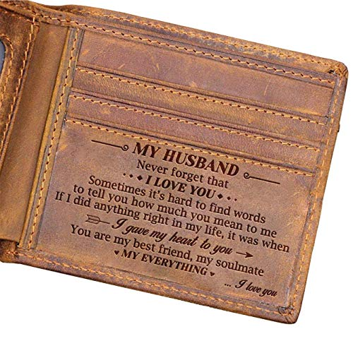 Husband Engraved Bifold Wallet - You Are My Everything - Engraved Leather Bifold Wallet (W - Original) (Leather Personalized Engraved)