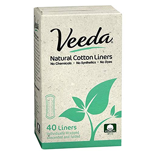 (Veeda Natural Cotton Liners, Hypoallergenic, Folded 40)