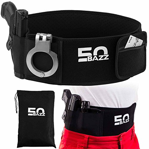 Concealed Carry Belly Band Handgun Holster Universal Neoprene Elastic Waist Band Pistol Carrier with Mag Pocket + Carrying Bag
