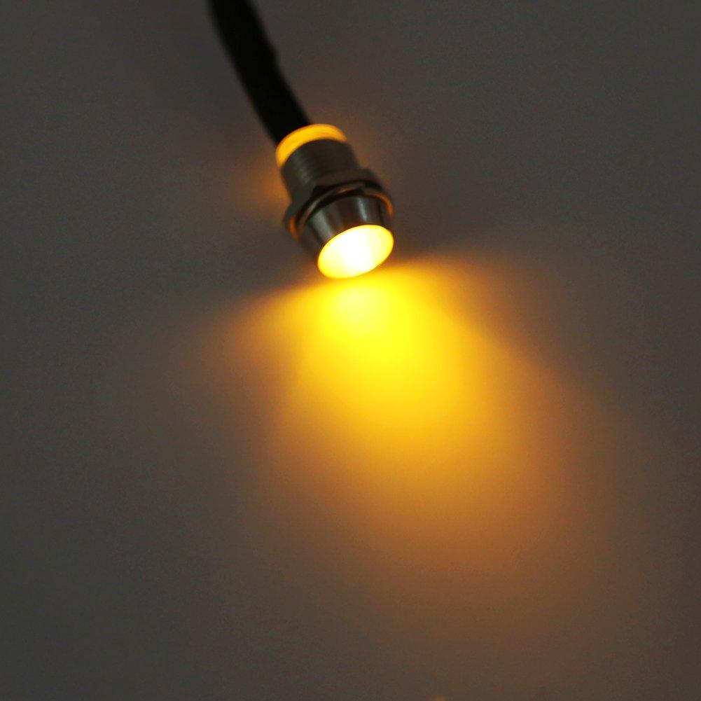 Keenso 4 Pcs 12v 8mm LED Panel Pilot Dash Warning Light Indicator Lamp Car Van Boat Indicator Light Lamp Pilot Dash Bulbs Directional White