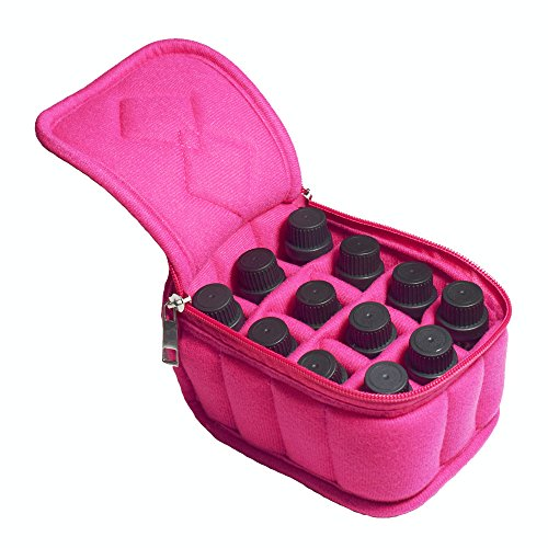 Pro-traveller 12 Bottles Essential Oil Carrying Case Holds 5ml/10ml/15ml for Travel ,Home Storage Bag with Handle and Double Zipper (Rose)