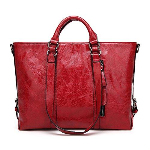 Women's Vintage Handbag PU Leather Shoulder Bag Tote Bags Satchel Large Cross Body Purse (Magazine Tote Womens Medium Handbag)