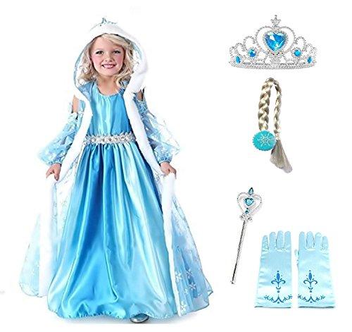 Tamaño 150 - 9 - 10 años - Disfraz - Traje Elsa Hood - Accesorios - Corona - Varita - Guantes - Trenza - Niña - Color Azul - Disfraz - Traje - Carnaval ...