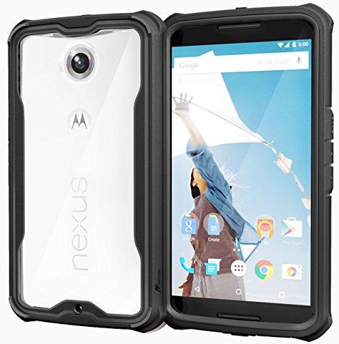 roocase Nexus 6 Case, [Glacier TOUGH] Hybrid Scratch Resistant Clear PC / TPU Armor Full Body Protection Case Cover for Google Nexus 6, Granite Black
