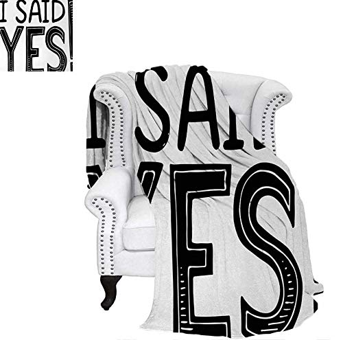 Art Custom Announcements - Lightweight Blanket I Said Yes Quote Happiness Striped Letters Announcement Artwork Print Custom Design Cozy Flannel Blanket 80