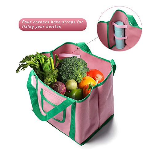 Reusable Grocery Bag Shopping Bags Box Heavy Duty Tote bag Collapsible, Durable, Foldable into Attached Pouch for Groceries and Home Storage Grocery box with Reinforced Thick Bottom1-PACK (Dark Red)