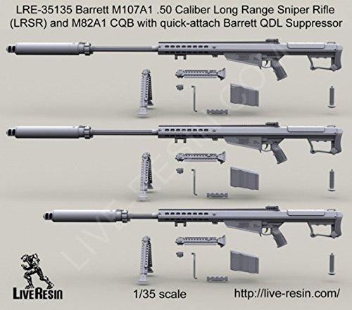 Live Resin 1:35 Barrett M107A1 .50 Cal LRSR & CQB w/ QDL Supressor #LRE35135