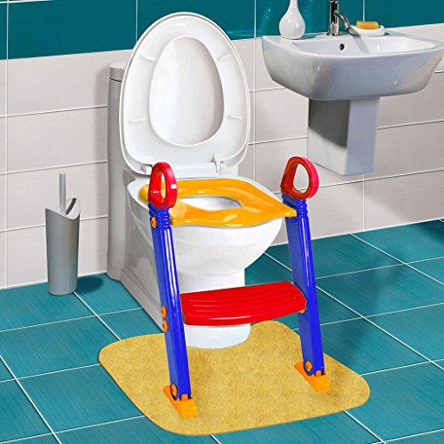 [Kids Toilet Potty Trainer Seat Chair With Ladder Step Up Polypropylene Orange and Blue Size 24.8x14.9x14.5] (Buzzfeed Easy Costumes)