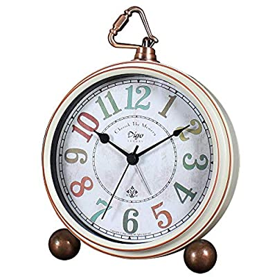 JUSTUP Silent Table Clock,5.2 in Retro Vintage Non-Ticking Desk Table Clock Small Decorative Alarm Clock Battery… - SEILENT: Non-ticking, quiet and smooth sweeping quartz movement and second hand, ensure a good sleep and best working environment VINTAGE DESK CLOCK: Vintage metal desk alarm clock, bring home furnishing high-end elegant atmosphere. EASY TO READ: Large numerals analog clock dial, easy to use, easy to read, perfect for kids or seniors - clocks, bedroom-decor, bedroom - 51c6jaXMKpL. SS400  -