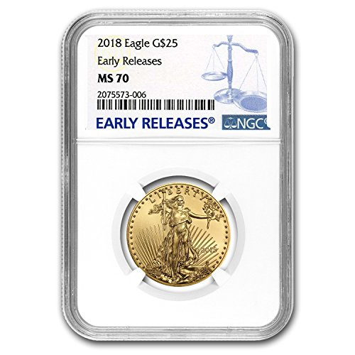 2018 1/2 oz Gold American Eagle MS-70 NGC (Early Releases) 1/2 OZ MS-70 NGC