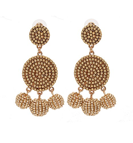 ELEARD Beaded Earrings Elegant Soriee Dangle Bead Disc Bead 3 Ball Dangle Ear Drop Bead Tassel Earrings for Women Girl (Gold) ()