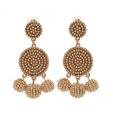 ELEARD Beaded Earrings Elegant Soriee Dangle Bead Disc Bead 3 Ball Dangle Ear Drop Bead Tassel Earrings for Women Girl (Gold)