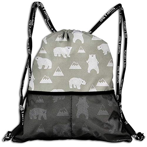 White Bear Pattern Drawstring Bag Sport Gym Sackpack
