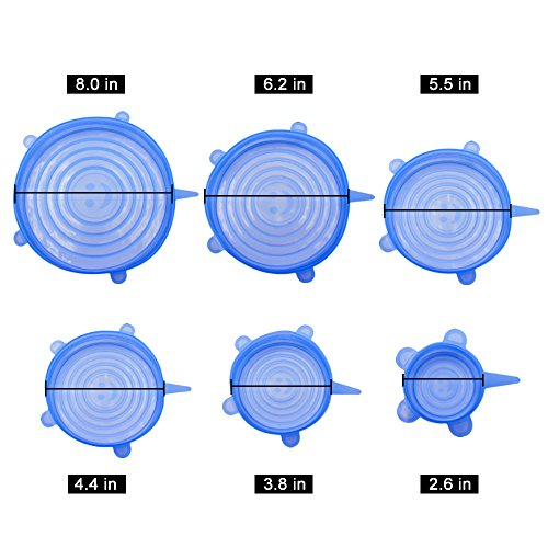 NEWBEA Silicone Stretch Lids,12-Pack Various Sizes ,Reusable, Durable Expandable to Fit Various Size Shape Containers As Seen On TV,Keeping Food Fresh, Dishwasher Freeze by NEWBEA (Image #5)