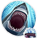 Dawhud Direct Microfiber Round Beach Towel Blanket, 60' D with Fringe (Great White Shark)