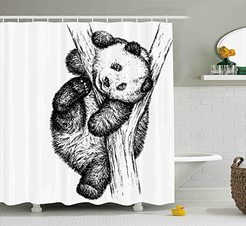 Animal Decor Shower Curtain Cute Little Panda Bear on Tree Branch Fury Tropical Jungle Zoo Sketchy Print Fabric Bathroom Decor Set with Hooks Black ()