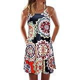 EOWEO Women Skirts,2019d Vintage Boho Women Summer Sleeveless Beach Printed Short Mini Dress(Large,Orange)