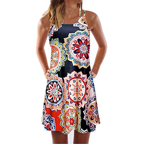 Women Boho Dress Vintage Sleeveless Beach Printed Short Dress Summer Mini Plus Size Dress Orange
