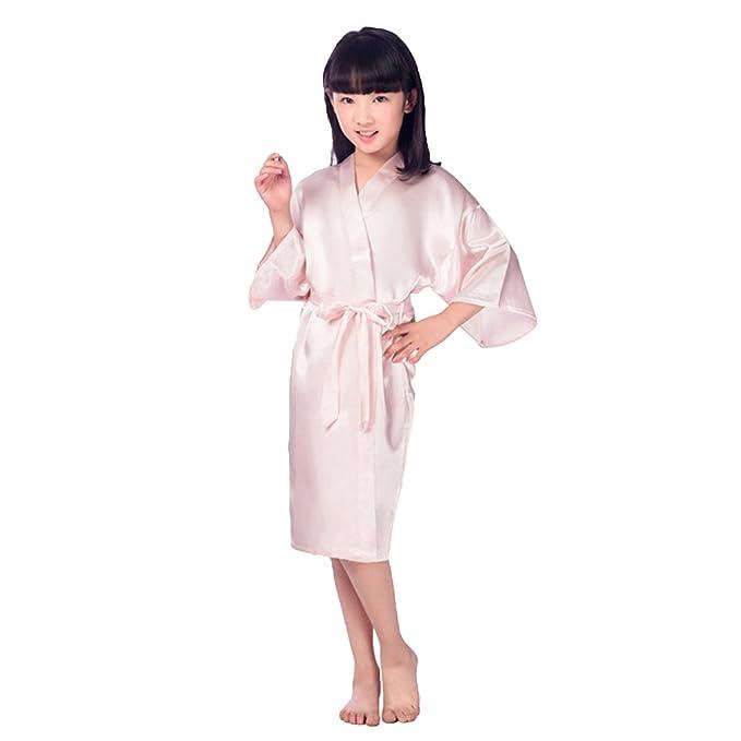 Zhien Flower Girls Raso Kimono Túnicas Túnica de Dama de Honor de la Boda Albornoz de los Niños Ropa de Dormir Camisón Rosa 14/11-14Y: Amazon.es: Ropa y ...
