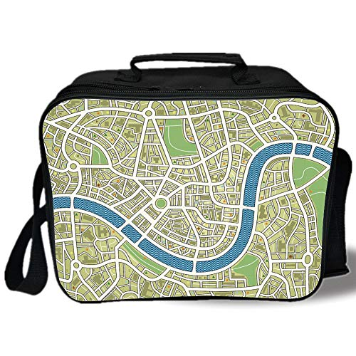Map 3D Print Insulated Lunch Bag,Street Map without Names Metropolis Capital City Downtown Urban,for Work/School/Picnic,Avocado Green Lime Green Blue