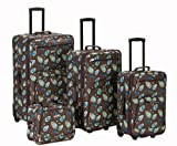 Rockland Luggage Brown Leaf 4 Piece Luggage Set, Brown Leaf, One Size, Bags Central