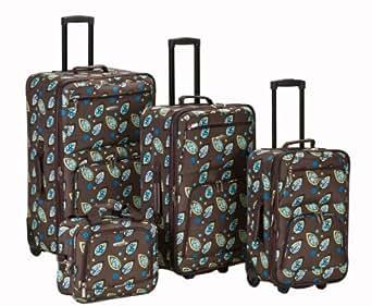 Rockland Luggage Brown Leaf 4 Piece Luggage Set, Brown Leaf, One Size