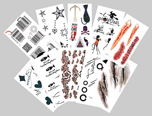 10-pack Halloween Temporary Tattoos Set - Scar wound witch black cat barcode Tattoo and more
