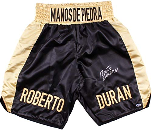 Roberto Duran Custom Boxing Trunks Autographed in Silver Signature Beckett Cert Autographed Custom Boxing Trunks