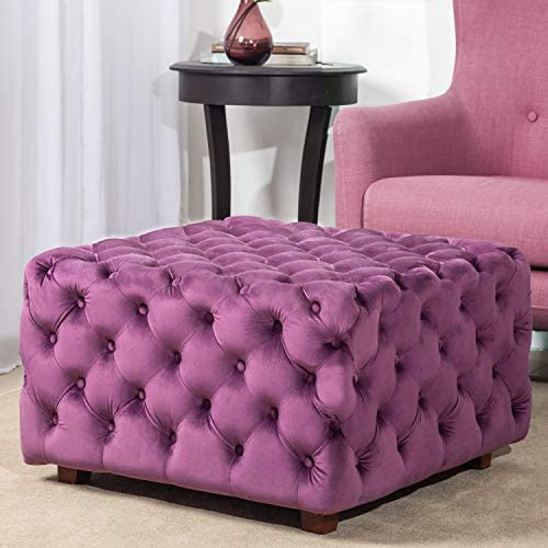 Homebeez Velvet Ottoman Bench Cube Foot Rest Stool Square Coffee Table Purple