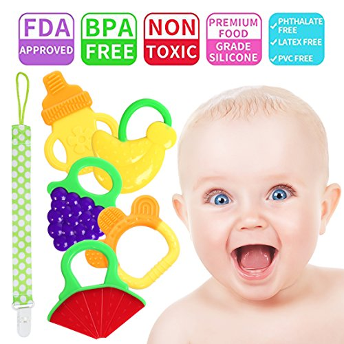Baby Teething Toys Baby Teether- Natural Organic Silicone Freezer Teether Set BPA Free Fruit Teether Toys Sore Gums Pain Relief for 3 to 12 Months Babies, Infants, Toddlers,Baby Bib ¡­ by Sweetie House