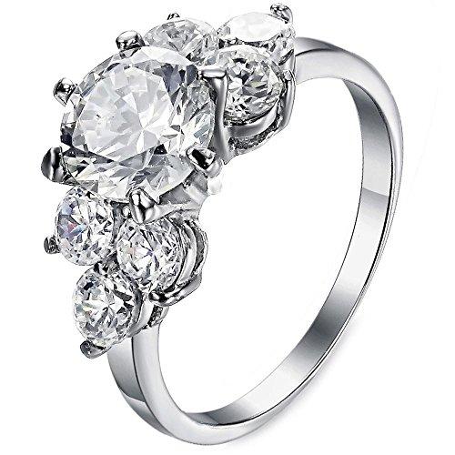 Swiss CZ Crystal Diamond Wedding Ring - 4