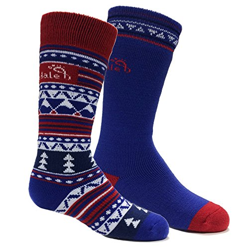 Bridgedale Kid's merino ski Socks (2 Pack), Royal/Red, Medium