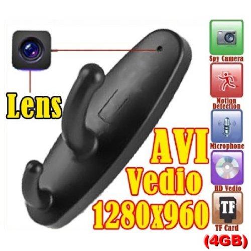 4 Gb Spy Cam (4GB 1280*960 Mini Clothes Hook Spy Camera Cam Hidden Pinhole DVR Dv 30Fps Black)
