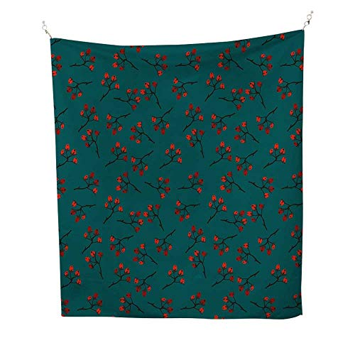 Modern Berries Bedding - Tealoutdoor tapestryWhimsical Modern Style Berry Christmas Pattern Hand Drawn Rustic Traditional 70W x 84L inch Ceiling tapestryTeal Ruby Vermilion