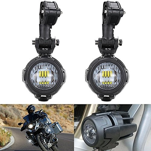 SUPAREE 2 Pcs 40W LED Auxiliary Lamp 6000K Super Bright Fog Driving Light Kits Led Lighting Bulbs DRL For Motorcycle BMW R1200GS F800GS K1600 KTM HONDA Harley Davidson (Lightx2) by SUPAREE