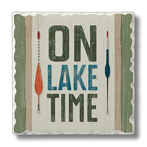 Absorbent Stone Coaster - On Lake Time 4 Pack