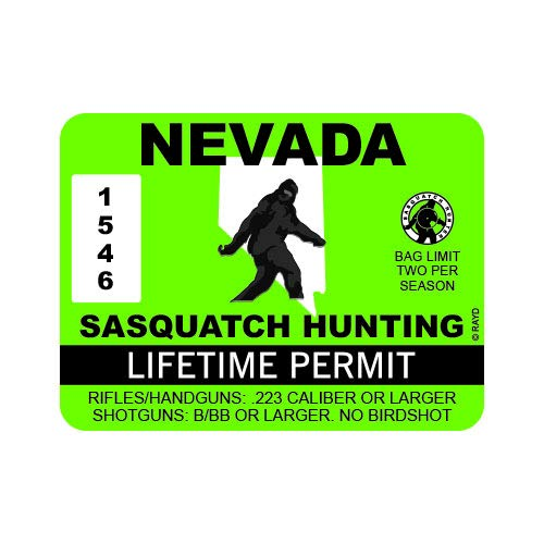 "RDW Nevada Sasquatch Hunting Permit - Color Sticker - Decal - Die Cut - Size: 4.00"" x 3.00"""