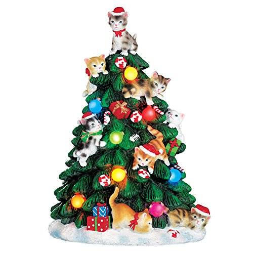 Collections Etc Lighted Cat Christmas Tree Figurine