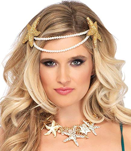 Leg Avenue Women's Mermaid Pearl Starfish Headband, White, One-Size