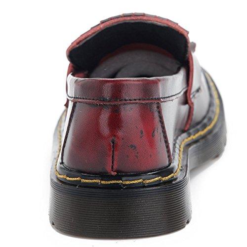 Cuero Mujeres Antideslizante Zapatos Borla Piel De Cabeza Baja Nuevos Áspero Negro eur37uk455 Genuina Nvxie Talón Partido Únicos Planos Bombas Trabajo Rojas Del 1 Bajo Señoras Redonda Boca Primavera Otoño Ocio 1vw5xqZ8Y