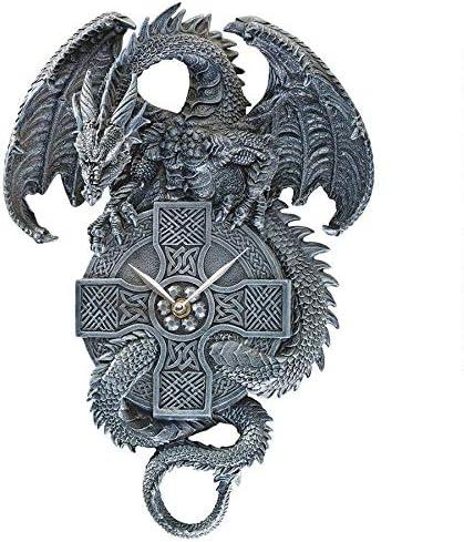 Design Toscano The Celtic Timekeeper Sculptural Dragon Wall Clock