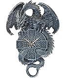 Design Toscano The Celtic Timekeeper Sculptural Dragon Wall Clock, greystone