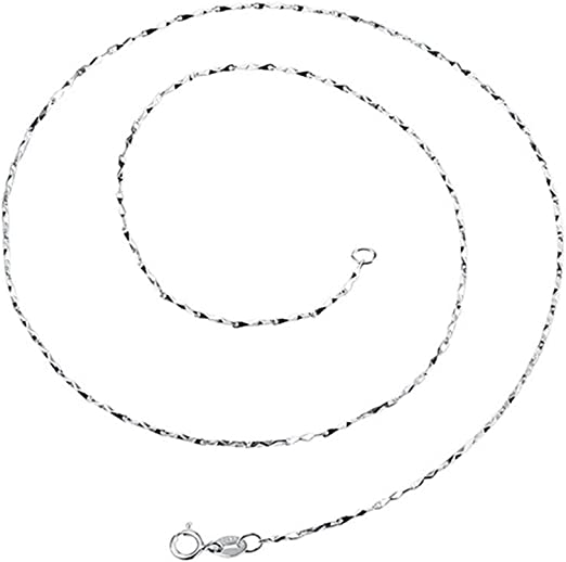 16 inch Pure 925 Sterling Silver Necklace 1.2mm Wheat Link Chain Necklace S925