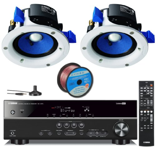 Yamaha 3D-Ready 5.1-Channel 500 Watts Digital Home Theater Audio Video Receiver with In-Ceiling Full Range Mini Speakers (set of 2) with a 4-inch Double-Layered Cone Woofer with 50 ft 16 Gauge Speaker Wire