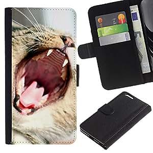 KingStore / Leather Etui en cuir / Apple Iphone 6 PLUS 5.5 / Gato Rugido Bostezo divertido lindo Dientes Boca Bigotes