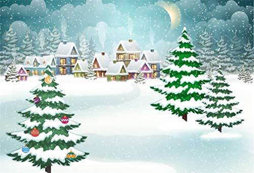 Yeele 10x8ft Winter Snowfall Backdrop Cartoon Xmas Town Snowflake Night Moon Background for Photography Kids Children Adult Photo Booth Shoot Vinyl Studio Props (Hd Snow Lights Wallpaper Christmas)