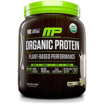 MusclePharm Plant Based Protein Powder, Certified USDA Organic, All Natural, Probiotics, Gluten Free, Non GMO, BCAA's, Vanilla, 15 servings