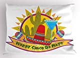 Lunarable Cinco De Mayo Pillow Sham, Graphic Sun Background with Cactus Margarita Glass and Mexican Hat Figures, Decorative Standard Size Printed Pillowcase, 26 X 20 Inches, Multicolor