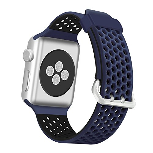 (ESeekGo Compatible with Apple Watch Band 42mm 44mm 38mm 40mm, Sport Breathable Silicone Replacement Smart Fitness Watch Wristband Compatible with Apple Watch Series 4 3 2 1 Edition for Men Women)